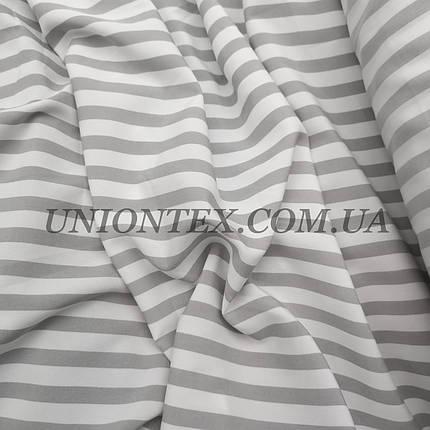 Ткань супер софт принт полоска 1см белая с серой ART-11-5, фото 2