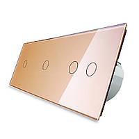 Сенсорный выключатель Livolo 1-1-2 золото стекло (VL-C701/C701/C702-13), фото 1