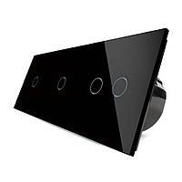 Сенсорный выключатель Livolo 1-1-2, цвет черный, стекло (VL-C701/C701/C702-12), фото 1