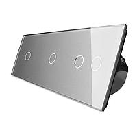 Сенсорный выключатель Livolo 1-1-2, цвет серый, стекло  (VL-C701/C701/C702-15), фото 1