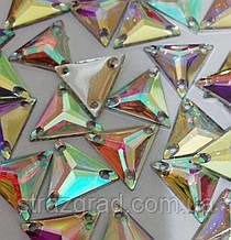 16мм. Трикутники пришивні З/С. Crystal AB