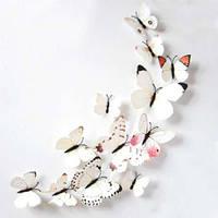 (12 шт) Набор бабочек 3D на магните, БЕЛЫЕ цветные