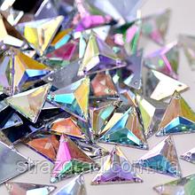 17мм. Трикутники пришивні З/С. Crystal AB