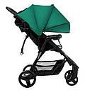 Детская прогулочная коляска зеленая Carrello Maestro черная рама чехол на ножки подстаканник дождевик, фото 2