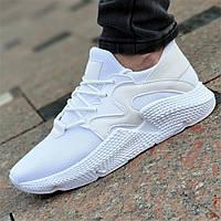 Белые женские кроссовки Prophere на весну лето верх трикотаж легкие, мягкая высокая подошва (Код: 1370)