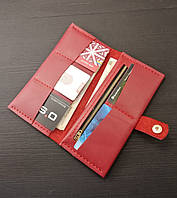 Женский красный кожаный кошелек из натуральной кожи ручной работы Revier