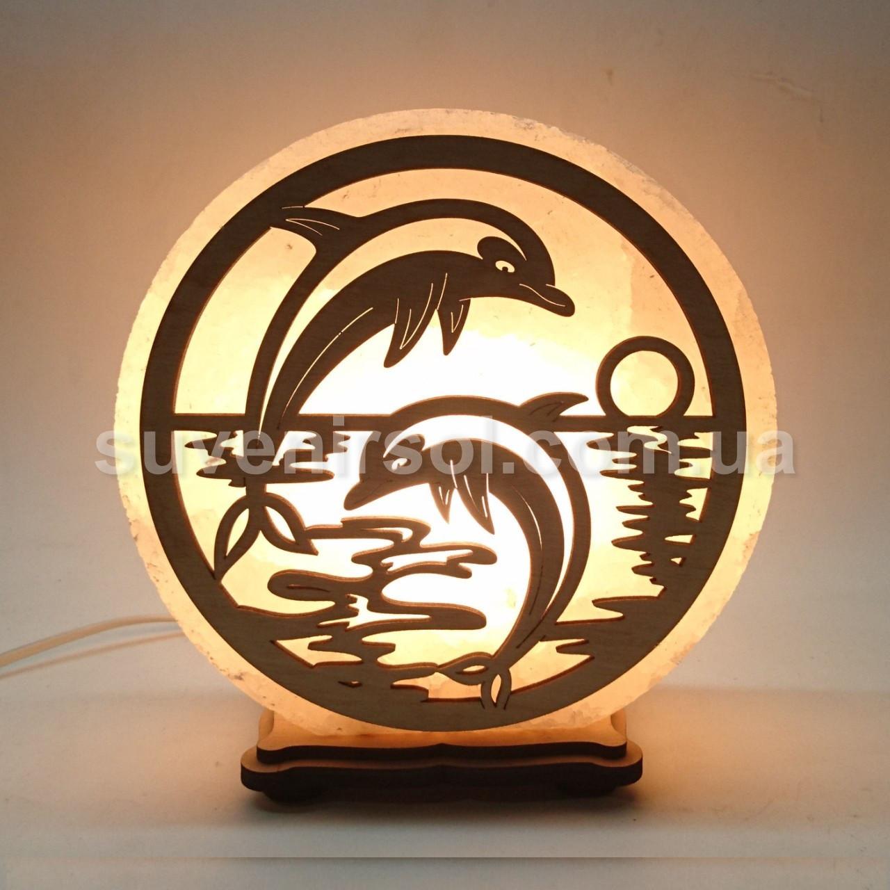 Соляной светильник круглый Дельфины