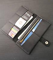 Женский черный кожаный кошелек из натуральной кожи ручной работы Revier