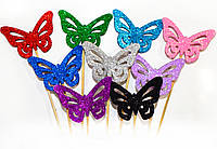 ТОППЕР на палочке БАБОЧКА 6,5СМ Глиттер Микс Цветов Блестящая Топперы для Торта Топер на капкейки декор