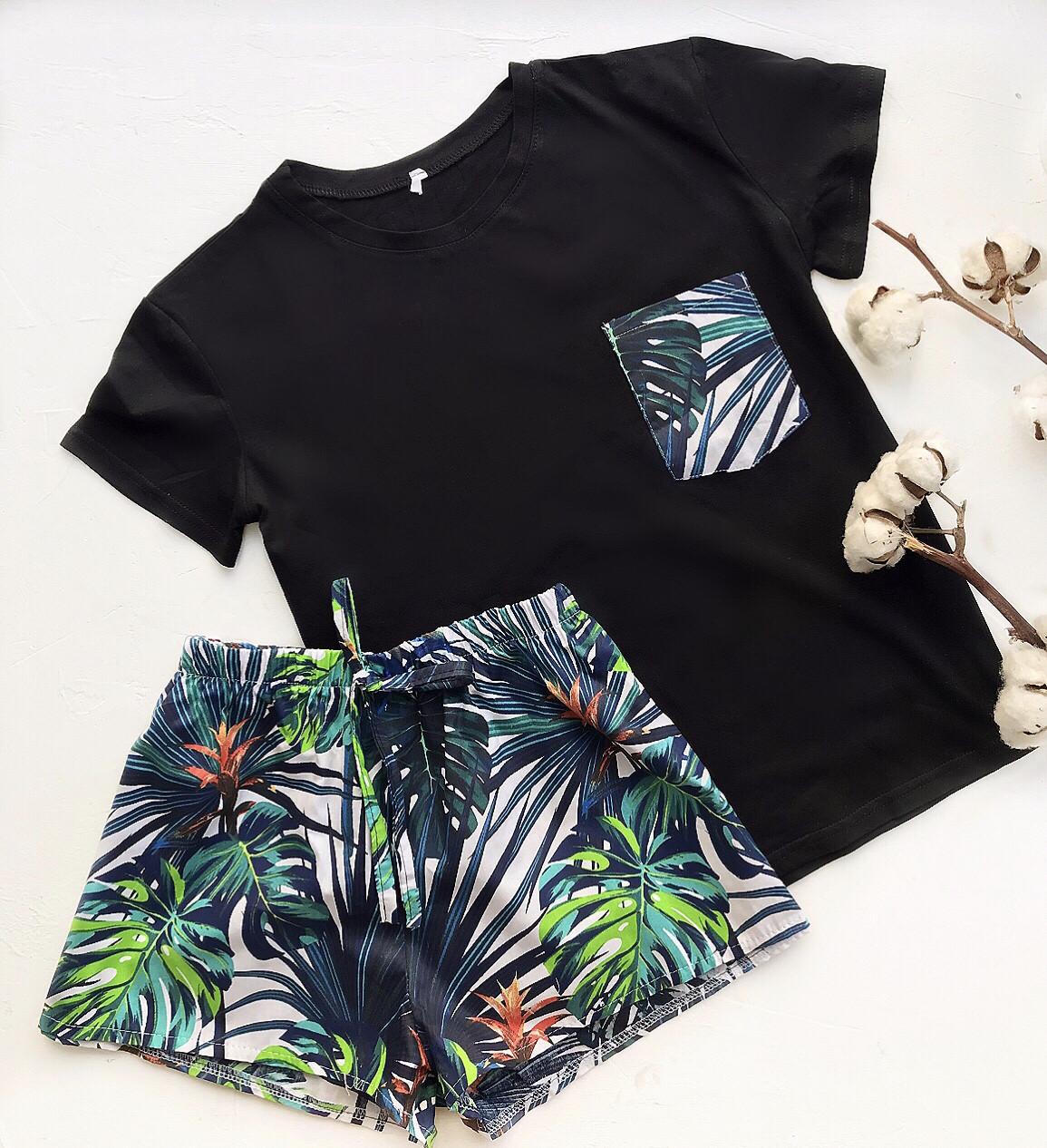 Піжама футболка і шорти S-M листя