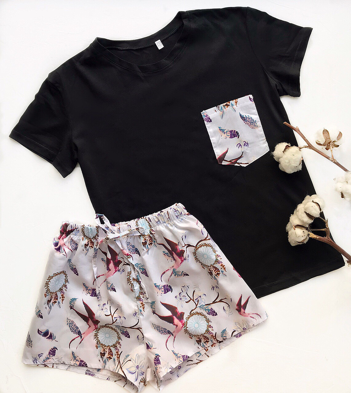 Пижама футболка и шорты S-M ловец снов