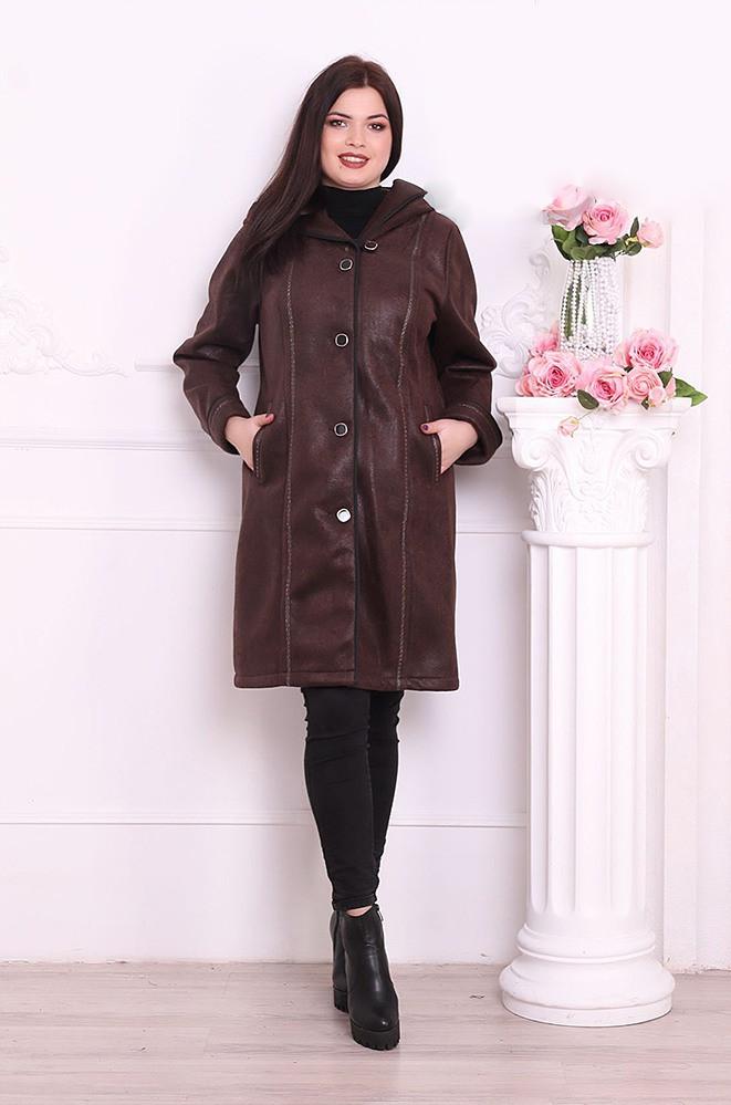 Пальто женское искусственная дубленка батал темное