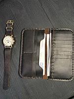 ef61e21429ff Мужской кошелек портмоне из натуральной кожи ручной работы Revier черный  для денег и телефона