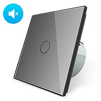 Бесшумный сенсорный выключатель Livolo Silent цвет серый стекло (VL-C701Q-15)