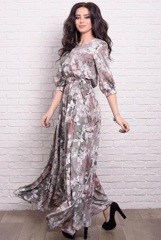 Платье макси с цветочным принтом Ванесса, капучино