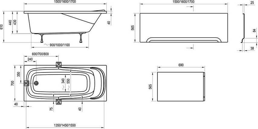 Комплект Ravak Vanda II 150х70 опора + панель + кріплення, фото 2