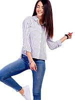 Блуза рубашка женская в ассиметрическую полоску, фото 1