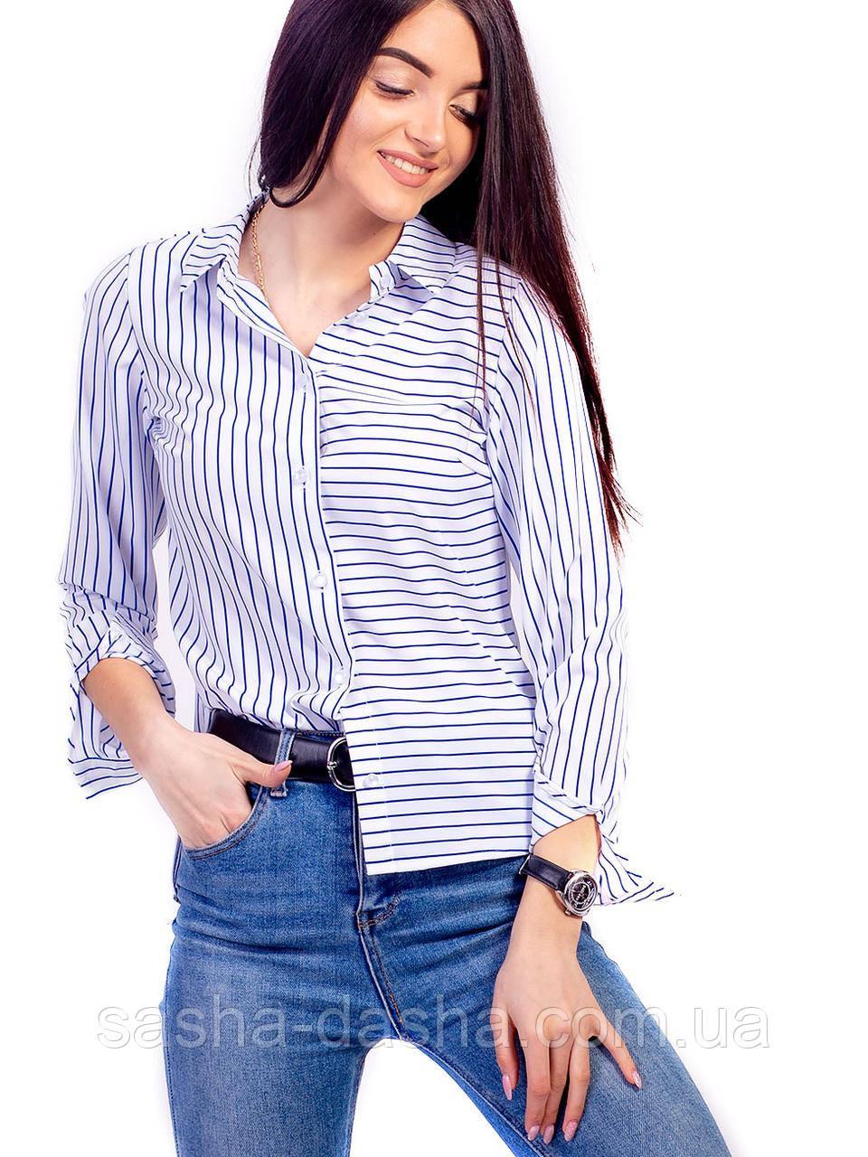 Блуза рубашка женская в ассиметрическую полоску