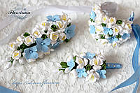 """Свадебный набор  """"Голубые гортензии с фрезии"""" , фото 1"""