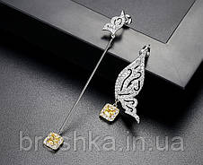 Асимметричные серьги бабочка ювелирная бижутерия, фото 3