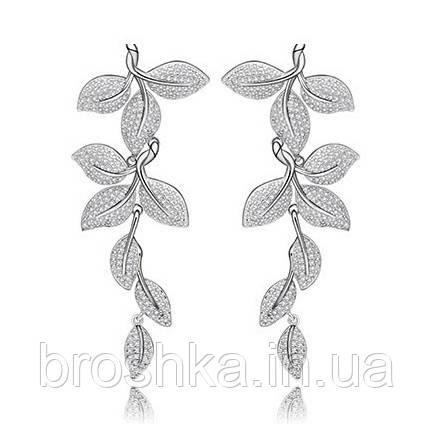 Длинные белые вечерние серьги листья ювелирная бижутерия