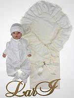 """Летний набор на выписку """"Мечта"""" для новорожденной девочки. Молочный"""