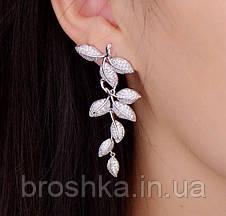 Длинные белые вечерние серьги листья ювелирная бижутерия, фото 3