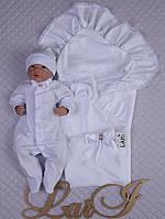 """Летний набор на выписку """"Мечта"""" для новорожденного мальчика. Белый"""