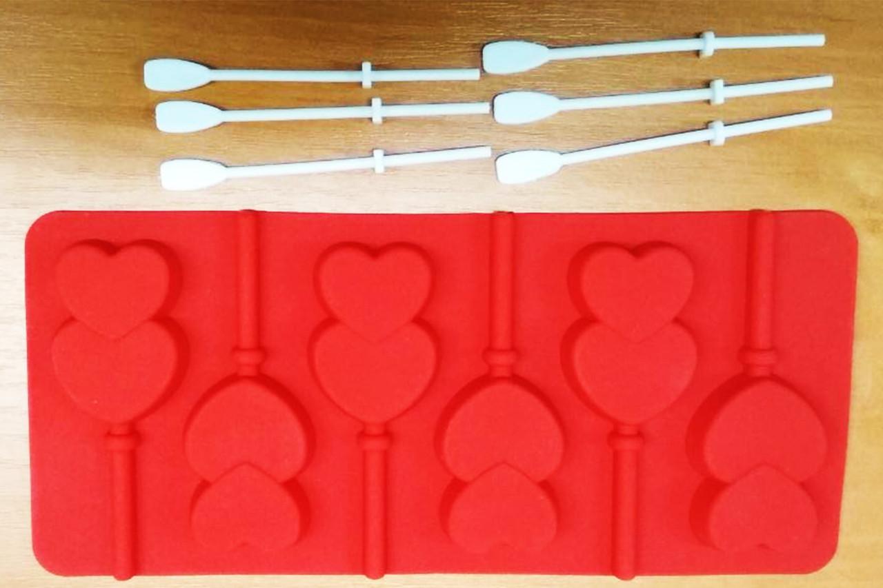 Силиконовая форма для конфет на палочке, леденцов сердечки