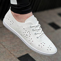 Летние женские мокасины перфорация белые на шнуровке, легкие и мягкие на весну лето (Код: Б1373)