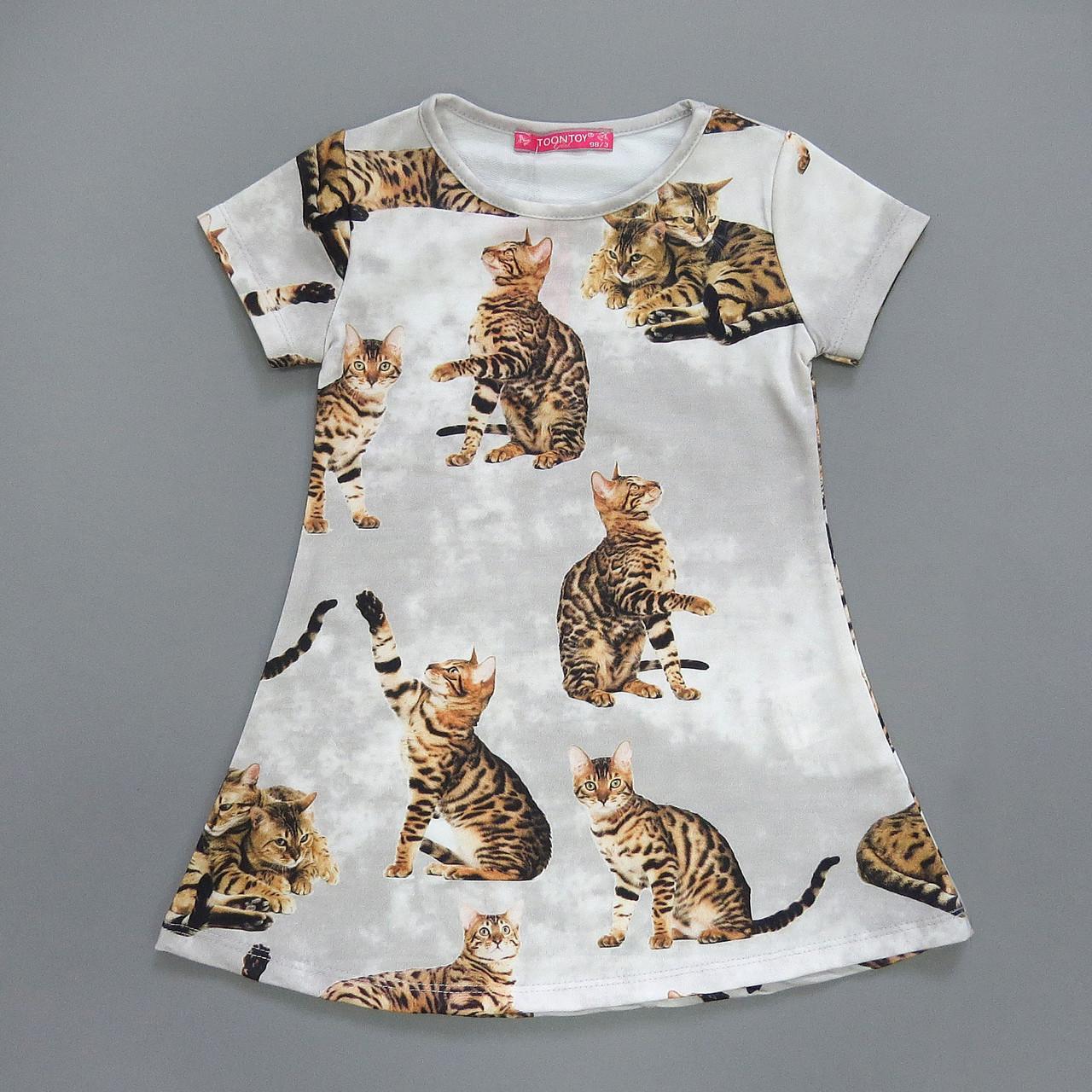 """Платье """"Коты"""" для девочки. 98, 110, 116 см"""