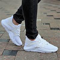 Белые женские кроссовки Prophere на весну лето верх трикотаж легкие, мягкая высокая подошва (Код: Б1370а)