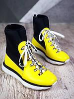 Спортивные ботинки на шнуровке 36,37,40 р жёлтый, фото 1