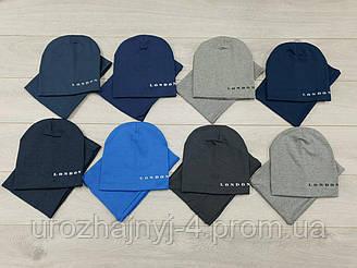 Трикотажный набор шапка и хомут подкладка х/б р50-54. 5 шт в упаковке.