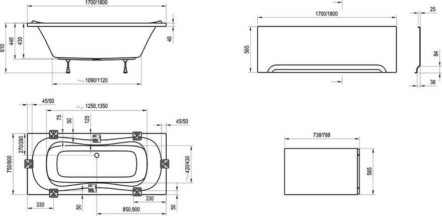 Комплект Ravak CAMPANULA II 170х75 опора + панель + кріплення, фото 2