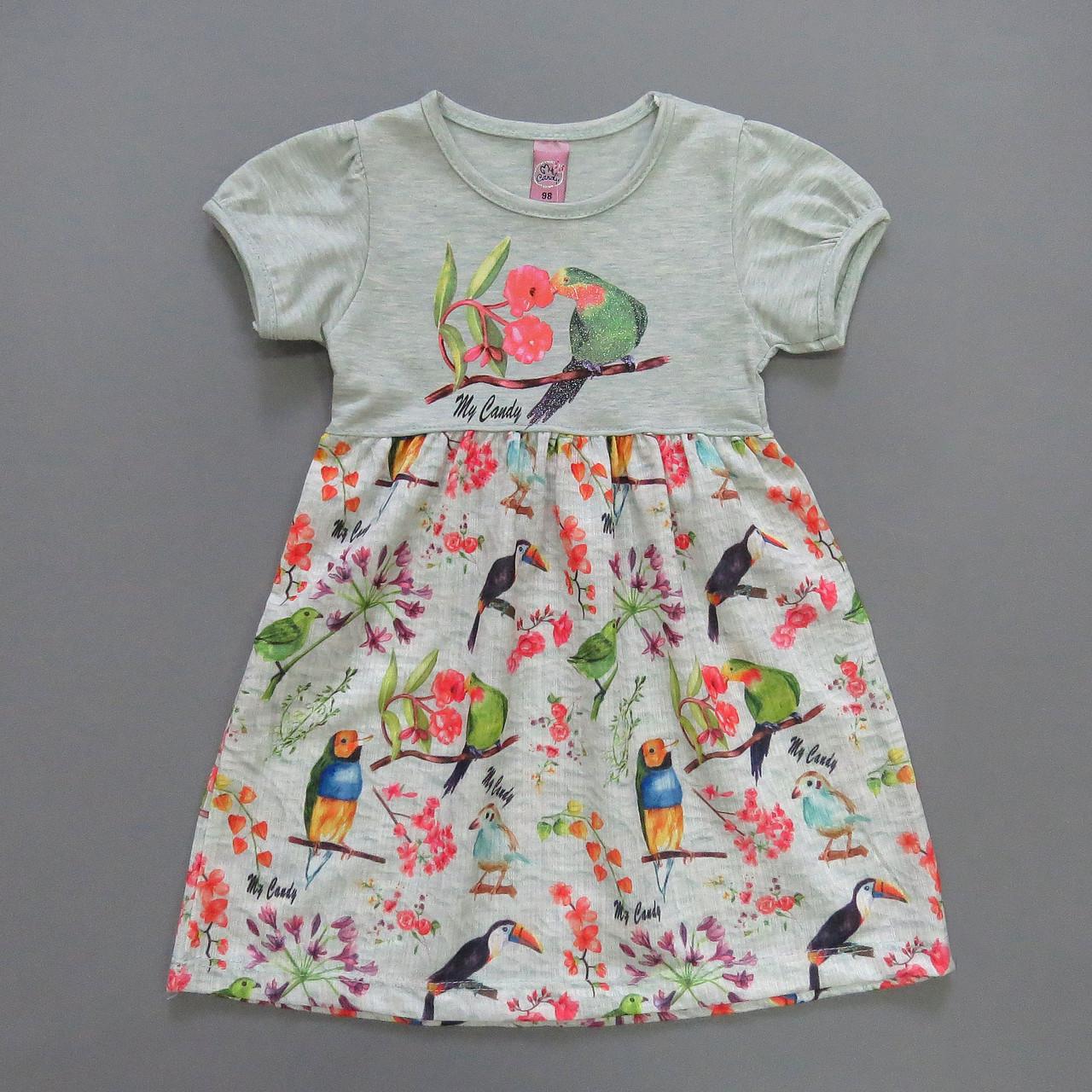"""Летнее платье """"Птички"""" для девочки. 98, 104, 116 см"""