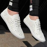 Летние женские мокасины перфорация белые на шнуровке, легкие и мягкие на весну лето (Код: Б1373а)