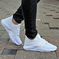 Белые женские кроссовки Prophere на весну лето верх трикотаж легкие, мягкая высокая подошва (Код: Ш1370а)