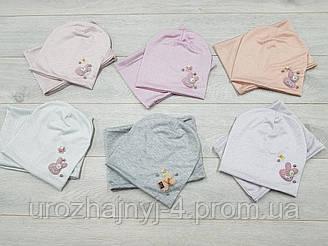 Детские трикотажные шапка и хомут р48-50 подкладка х/б. 5шт в упаковке.