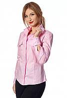 Розовая рубашка с длинным рукавом. Модель 444. Размеры 42-52