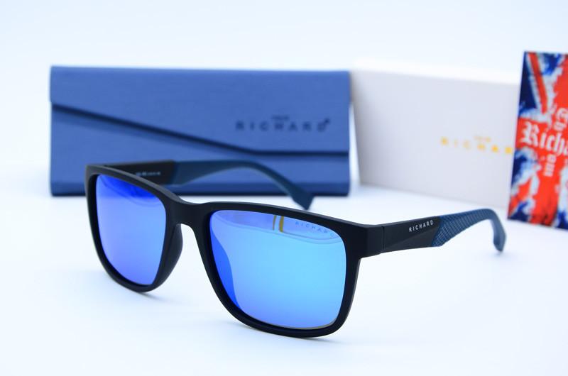 Прямоугольные мужские фирменные солнцезащитные очки 9324 син зеркало