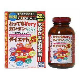 """Японские таблетки для похудения """" Очень легкая диета"""" 600  табл на 75 дней"""