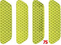Светоотражающие наклейки на торец двери авто 25х93 мм, отражатель (катафот) на самоклейке, 4 шт. - 3M 3432 Желто-зеленый
