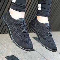 Элегантные женские мокасины черные из прочного текстиля на шнуровке, удобные и практичные (Код: М1374а)