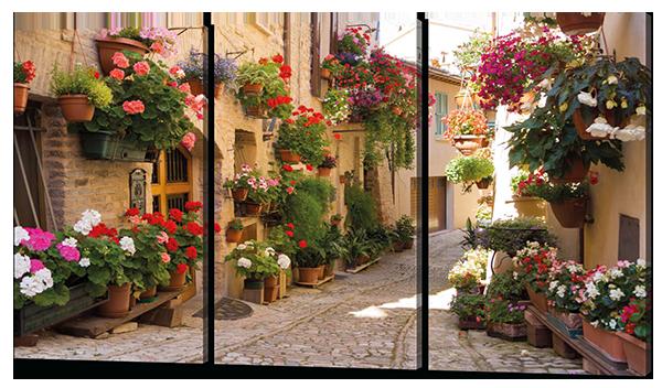 Модульная картина Аллея с цветами. Стелло в Умбрии. Италия. 120*93 см Код: 375.3к.120