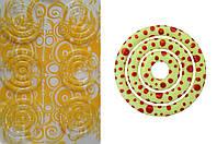 Пластиковый молд-трансфер для шоколада круг желтый  узор