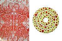 Пластиковый молд-трансфер для шоколада круг красный  узор