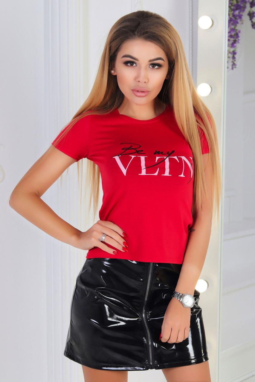 Женская облегающая футболка с надписью реплика Валентино, батал и норма