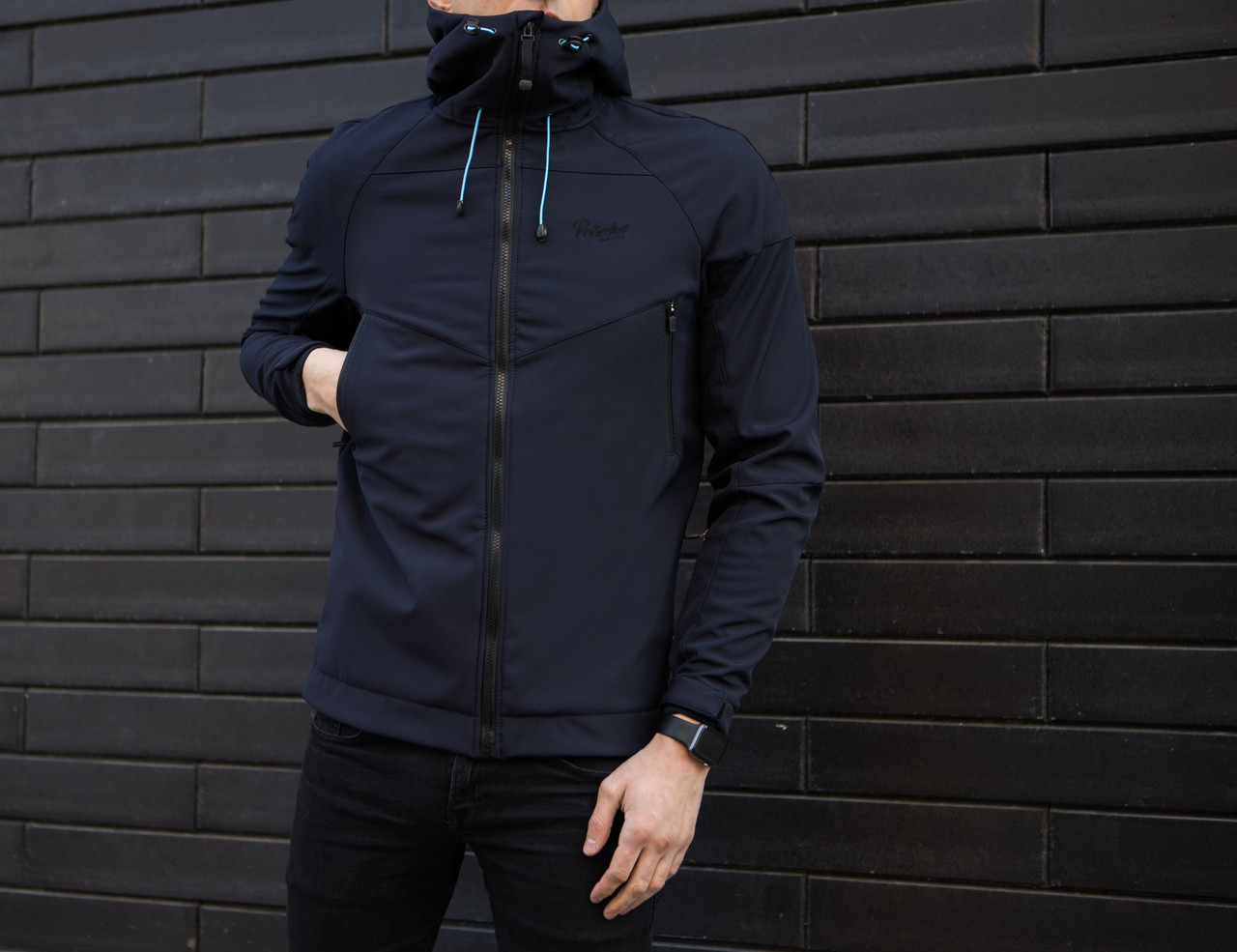"Мужская демисезонная куртка Pobedov ""Soft Shell"" Navy (S, M, L, XL размеры)"