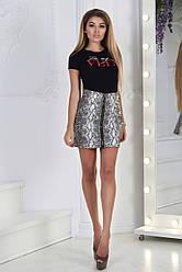 Стильная молодежная кожаная юбка со змейкой спереди на всю длину